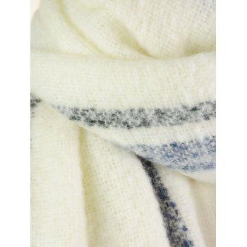 Striped Pattern Embellished Fringed Chunky Shawl Scarf - WHITE ONE SIZE