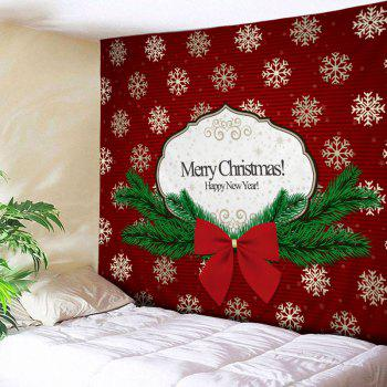 Christmas Bowknot Snowflake Print Tapestry Wall Hanging Art - RED RED