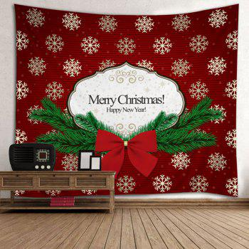 Christmas Bowknot Snowflake Print Tapestry Wall Hanging Art - RED W91 INCH * L71 INCH