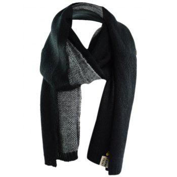 Outdoor Pineapple Decorated Faux Wool Long Scarf - BLACK BLACK