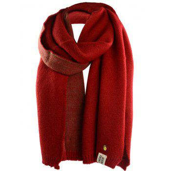 Outdoor Pineapple Decorated Faux Wool Long Scarf - BRIGHT RED BRIGHT RED