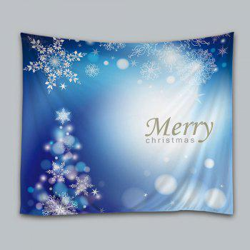 Merry Christmas Snowflakes Print Tapestry Wall Hanging Art Decor - BLUE BLUE