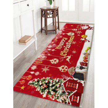 Flannel Skidproof Merry Christmas Printed Bath Mat - RED RED