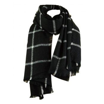 Outdoor Checked Pattern Artificial Wool Fringed Shawl Scarf - BLACK BLACK