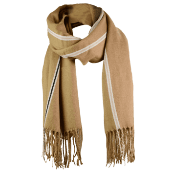 Outdoor Striped Pattern Artificial Wool Fringed Long Scarf - KHAKI ONE SIZE