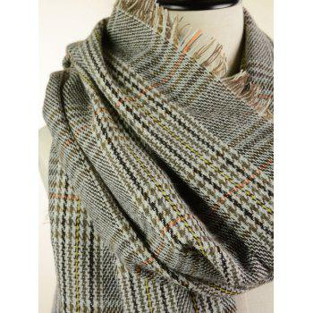 Outdoor Plaid Pattern Faux Wool Fringed Shawl Scarf - FEATHER GRAY