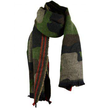 Outdoor Camouflage Pattern Decorated Fringed Long Shawl Scarf - ACU CAMOUFLAGE ACU CAMOUFLAGE