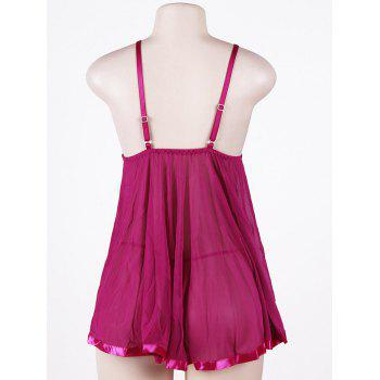 Sheer Plus Size Mesh Slip Babydoll - PURPLISH RED 5XL