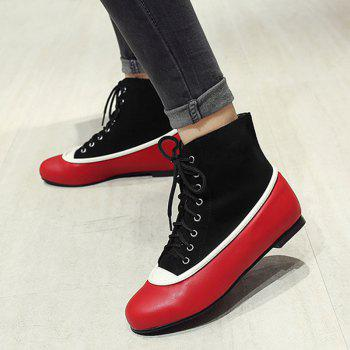 Lace Up Color Block Flat Heel Boots - RED/BLACK 40