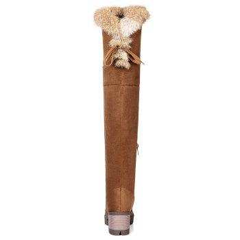 Fur Chunky Heel Thigh High Boots - BROWN 37