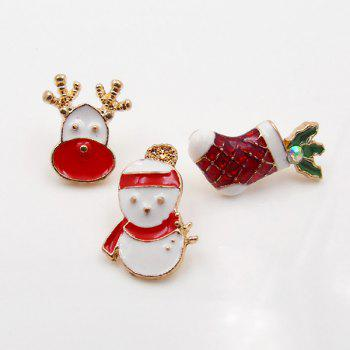 Christmas Snowman Deer Sock Brooch Set - WHITE WHITE