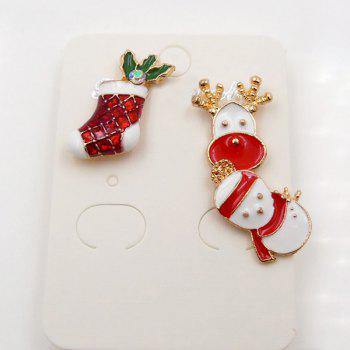 Christmas Snowman Deer Sock Brooch Set -  WHITE