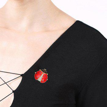 Rhinestoned Tiny Insect Brooch -  RED