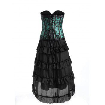 Underbust Ruffles Two Piece Corset Dress - GREEN L