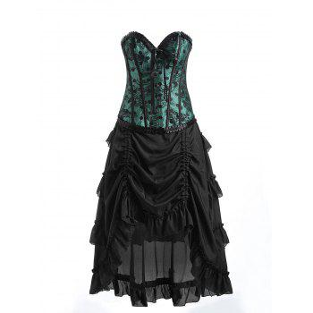 Underbust Ruffles Two Piece Corset Dress - GREEN GREEN