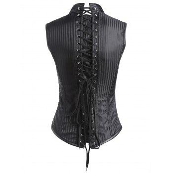 Steampunk Lace-up Corset Vest - BLACK BLACK