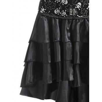Skulls Print Layer Flounce Corset Dress - BLACK 2XL