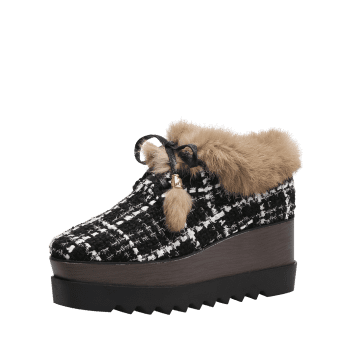 Square Toe Fuzzy Trim Plaid Platform Shoes - BLACK 35