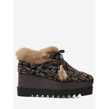 Square Toe Fuzzy Trim Plaid Platform Shoes - COLORFUL COLORFUL