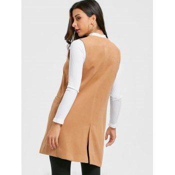 Side Pockets Back Slit Vest - KHAKI KHAKI