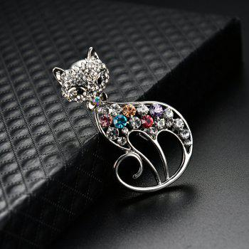 Rhinestoned Cat Brooch - SILVER