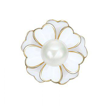 Faux Pearl Floral Brooch - WHITE WHITE