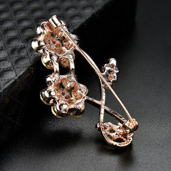 Rhinestone Number Floral Brooch - GOLDEN