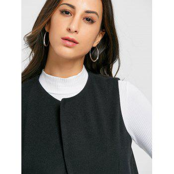 Side Pockets Back Slit Vest - BLACK BLACK