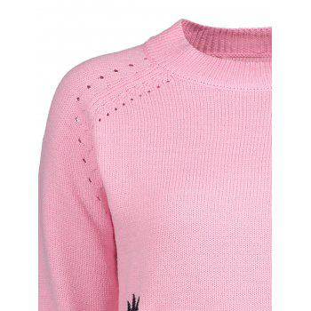 Plus Size Openwork Floral Embroidered High Neck Sweater - PINK 5XL