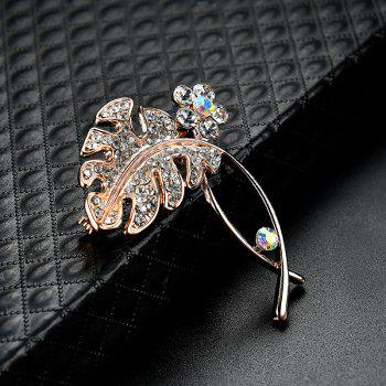 Rhinestone Floral Leaf Brooch -  GOLDEN