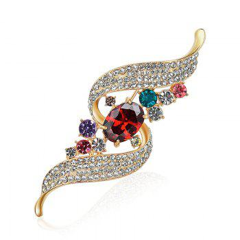 Rhinestone Faux Gem Ribbon Brooch - GOLDEN GOLDEN