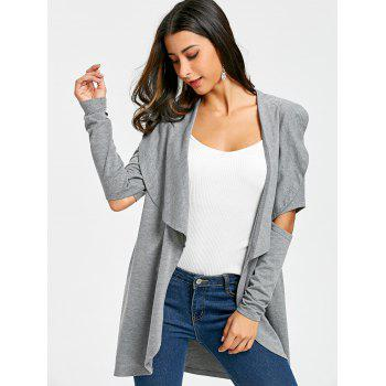 2018 Cutout Elbow Tunic Waterfall Cardigan LIGHT GRAY M In ...