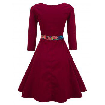 Vintage Floral Swing Pin Up Dress - WINE RED M