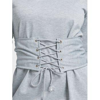 Long Sleeve Mini Dress With Lace Up Corset Waist - GRAY XL