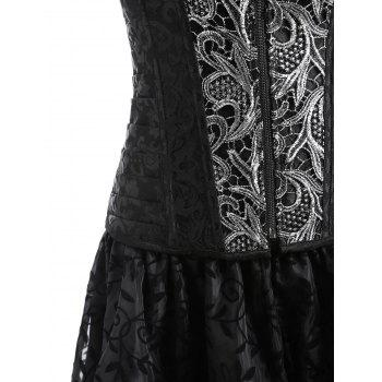 Plus Size Zip Asymmetric Two Piece Corset Dress - BLACK XL