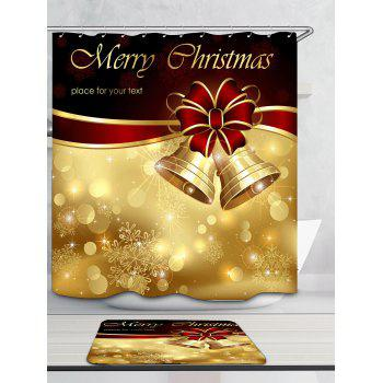 Christmas Bells Patterned Bath Decor Shower Curtain - RED/GOLDEN W71 INCH * L71 INCH