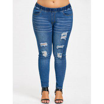 Plus Size Frayed Skinny Jeans - DENIM BLUE XL