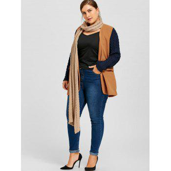 Plus Size Shawl Collar Cable Knit Coat - CAMEL XL