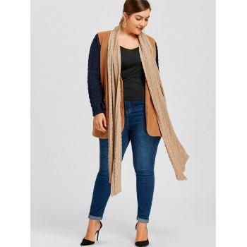 Plus Size Shawl Collar Cable Knit Coat - CAMEL 5XL