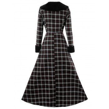 Plus Size Double Breasted Plaid Swing Coat - BLACK 3XL