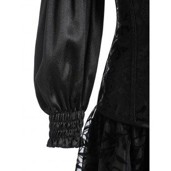 Lantern Sleeve Asymmetric Two Piece Corset Dress - BLACK L
