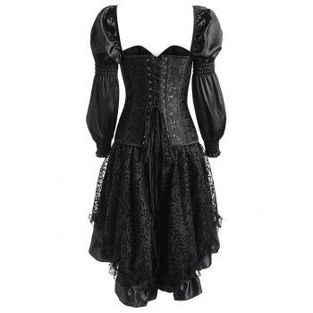 Lantern Sleeve Asymmetric Two Piece Corset Dress - BLACK BLACK