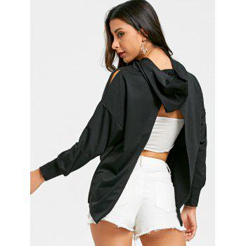 Back Slit High Low Hem Hoodie - BLACK BLACK