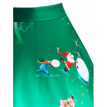 Christmas Wintersweet Snowman Tree Print Ombre Plus Size Skirt - GREEN 3XL