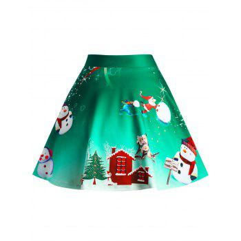 Christmas Wintersweet Snowman Tree Print Ombre Plus Size Skirt - GREEN 2XL