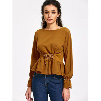 Flare Cuff Lace Up Peplum Top - Brun Clair S
