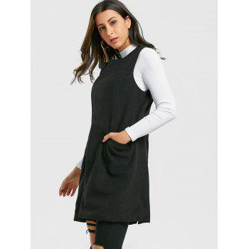 Side Pockets Back Slit Vest - BLACK 2XL