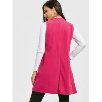 Side Pockets Back Slit Vest - ROSE RED L