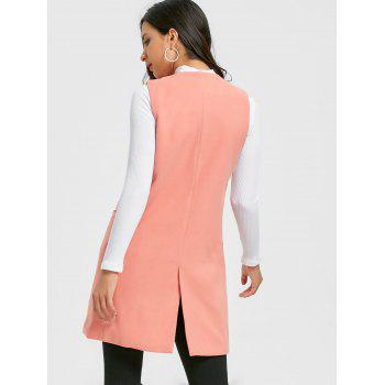 Side Pockets Back Slit Vest - PINK XL