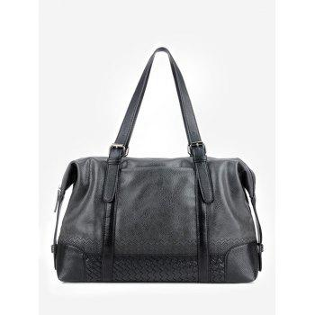 Buckle Strap Braid Color Block Weekender Bag